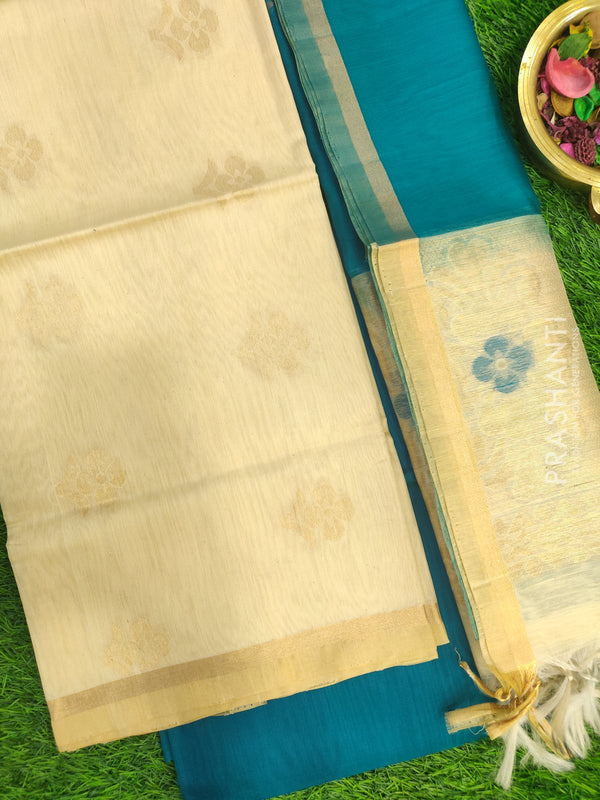 Silk Cotton Dress Material beige and peacock green with woven silk cotton dupatta