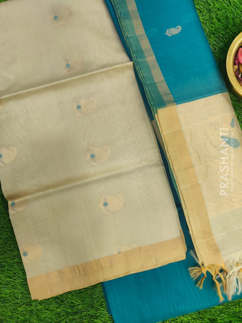 Silk Cotton Dress Material off white and peacock green with woven silk cotton dupatta