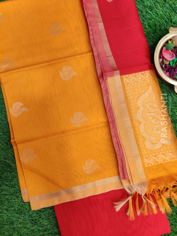 Silk Cotton Dress Material yellow and red with woven silk cotton dupatta