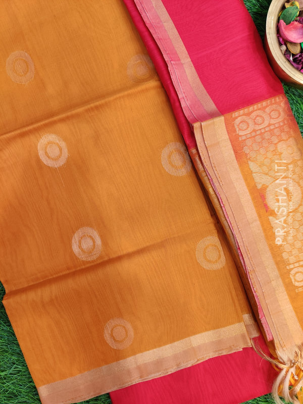 Silk Cotton Dress Material mustard and tomato red with woven silk cotton dupatta