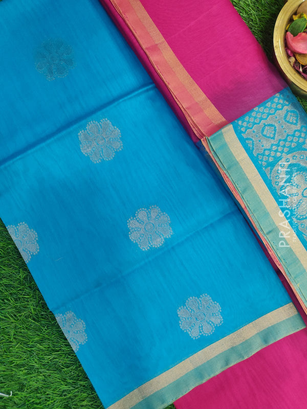 Silk Cotton Dress Material cs blue and pink with woven silk cotton dupatta