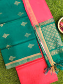 Silk Cotton Dress Material peacock green and peachish pink with woven silk cotton dupatta