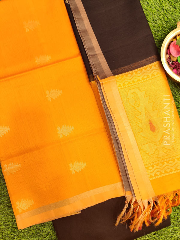 Silk Cotton Dress Material yellow and black with woven silk cotton dupatta