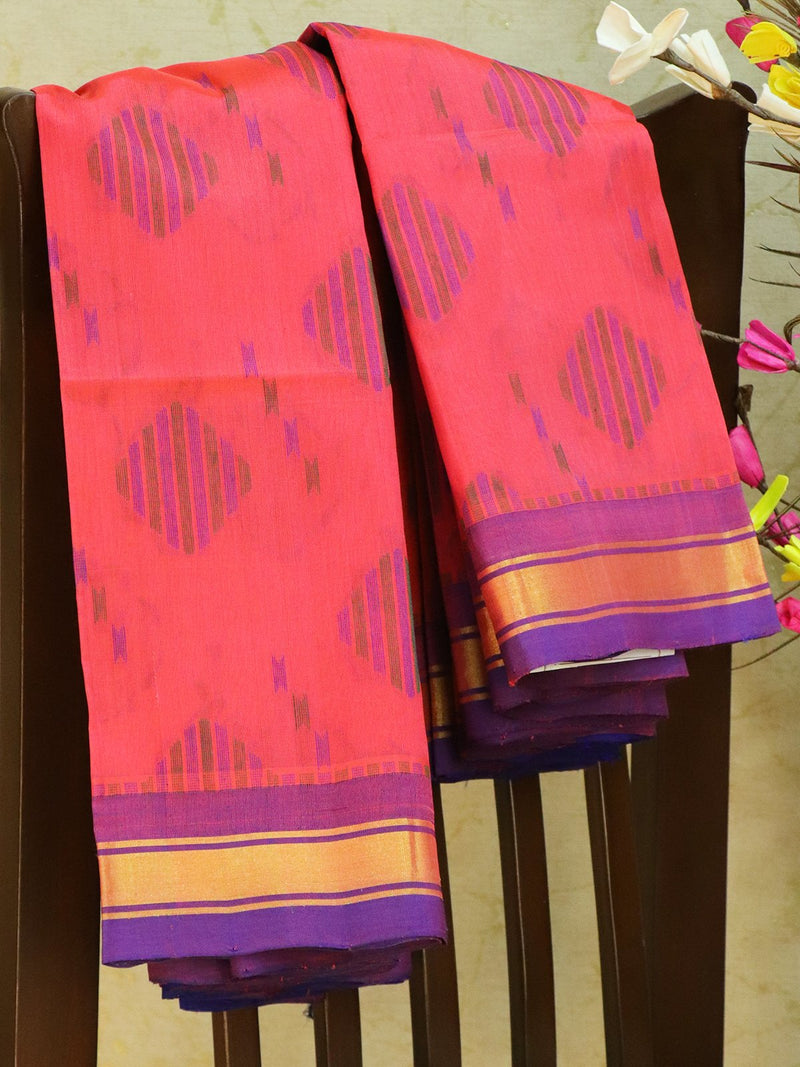 Light Weight Silk Cotton Saree peach pink and blue with allover thread weaves and rich pallu