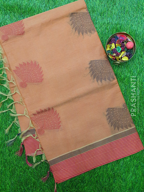 Handloom Cotton Saree brown shade and maroon with thread woven buttas and golden zari border