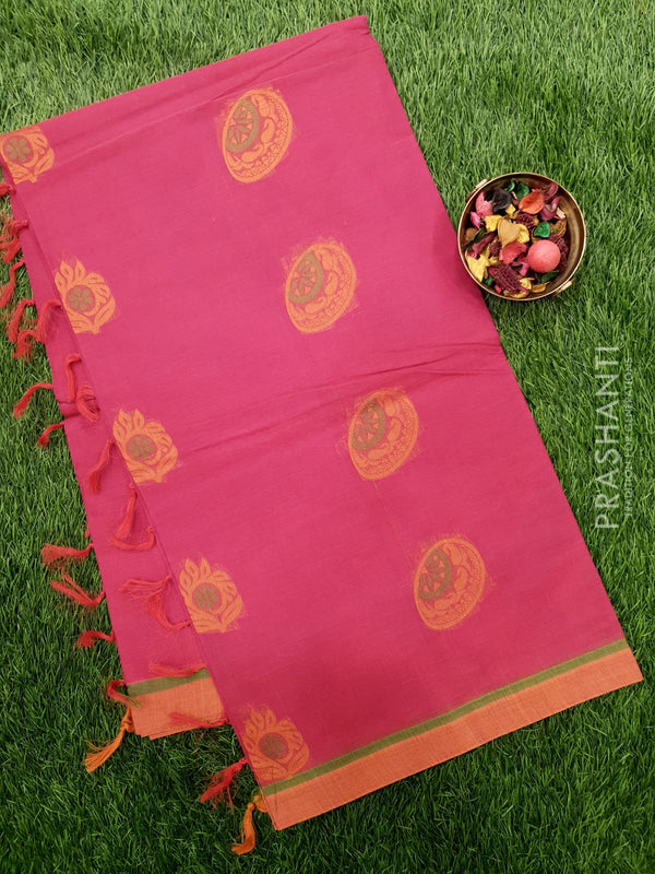Handloom Cotton Saree pink and rust  with thread woven buttas and golden zari border