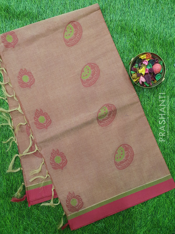 Handloom Cotton Saree dual shade of maroon with thread woven buttas and golden zari border