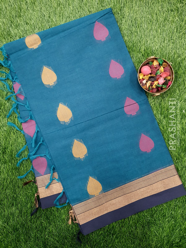 Handloom Cotton Saree peacock green and navy blue with thread woven buttas and golden zari border