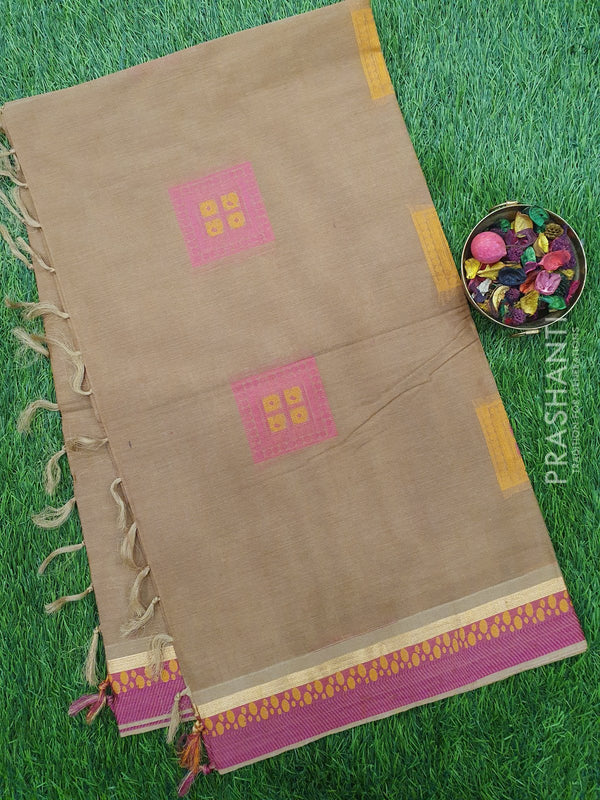 Handloom Cotton Saree chiku and pink with thread woven box buttas and simple zari border