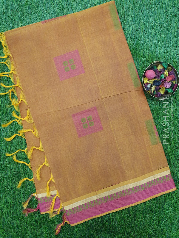 Handloom Cotton Saree honey and pink with thread woven box buttas and simple zari border