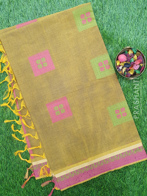 Handloom Cotton Saree mehandi green and pink with thread woven box buttas and simple zari border