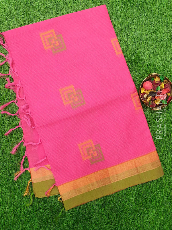 Handloom Cotton Saree pink and green with thread woven box buttas and zari border