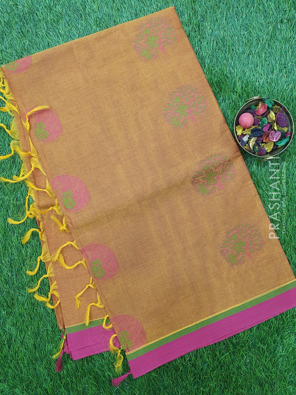 Handloom Cotton Saree honey and pink with thread woven paisley buttas and piping border