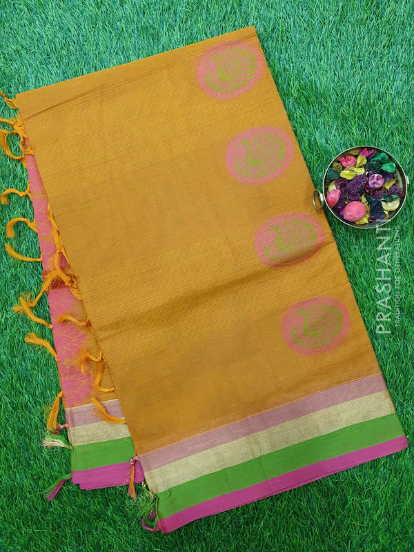 Handloom Cotton Saree honey and pink with thread woven buttas and golden zari border