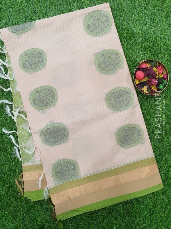 Handloom Cotton Saree sandal and green with thread woven buttas and golden zari border