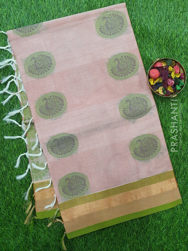 Handloom Cotton Saree onion shade and green with thread woven buttas and golden zari border