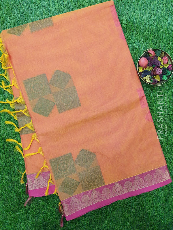 Handloom Cotton Saree dual shade of peach and pink with thread woven buttas and golden zari border