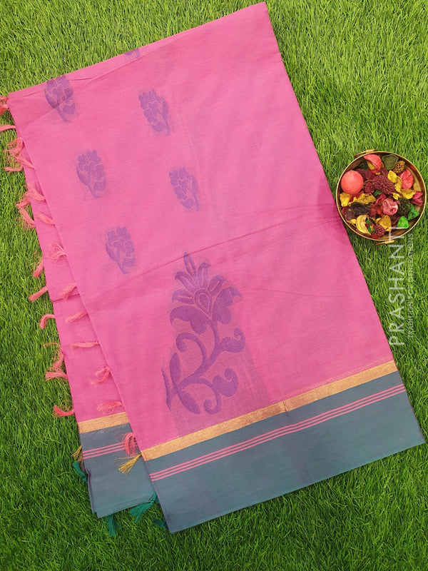 Handloom Cotton Saree pink and blue with thread woven floral buttas and golden zari border