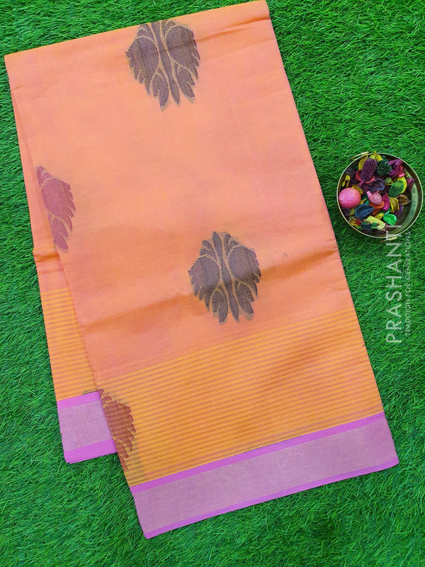 Handloom Cotton Saree dual shade of peach and pink with thread and zari woven buttas with golden zari border