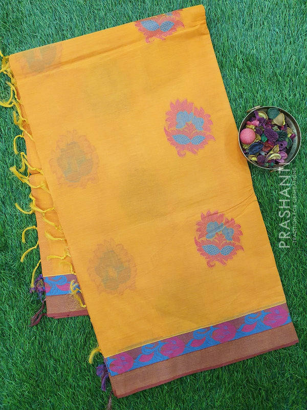 Handloom Cotton Saree orange with thread woven floral buttas and golden zari border