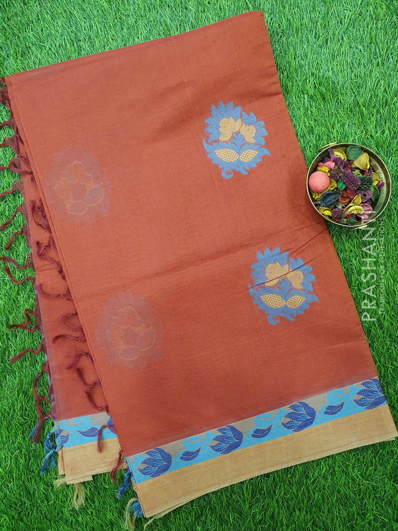 Handloom Cotton Saree dark rust with thread woven floral buttas and golden zari border