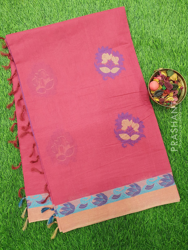 Handloom Cotton Saree dark pink with thread woven floral buttas and golden zari border