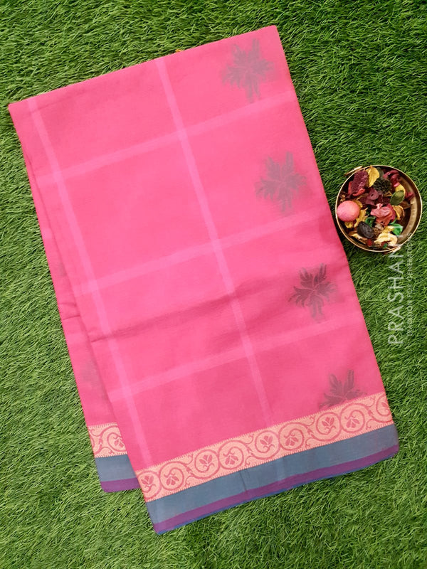Handloom Cotton Saree dark pink and peacock green with thread woven floral buttas and border