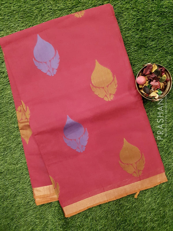Handloom Cotton Saree dark pink with thread woven floral buttas and zari border