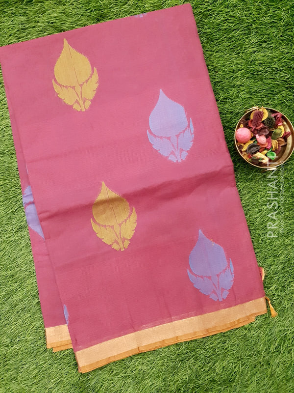Handloom Cotton Saree magenta pink with thread woven floral buttas and zari border