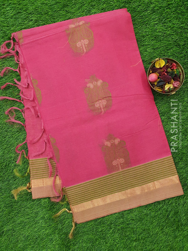 Handloom Cotton Saree pink with thread woven paisley buttas and zari border