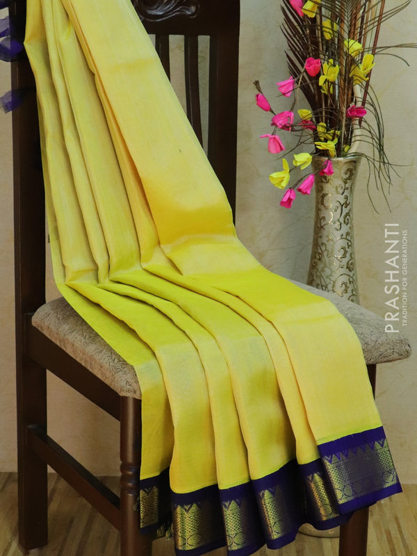 Silk Cotton Saree pale yellow and navy blue korvai with traditional zari border