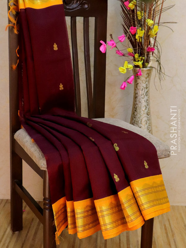 Silk Cotton Saree coffee brown and yellow korvai with traditional zari border and body buttas