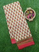 Semi Raw silk saree beige and maroon with bagru style floral prints and golden zari border