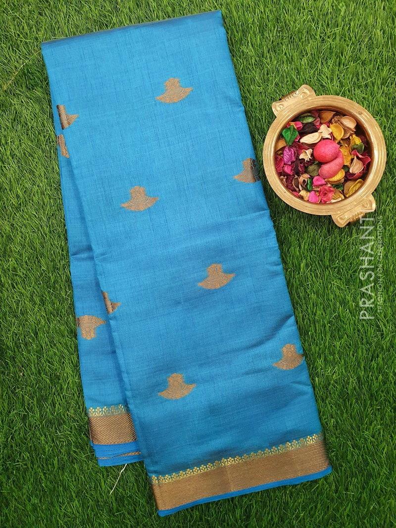 Semi Raw silk saree blue with thread woven border and thread buttas