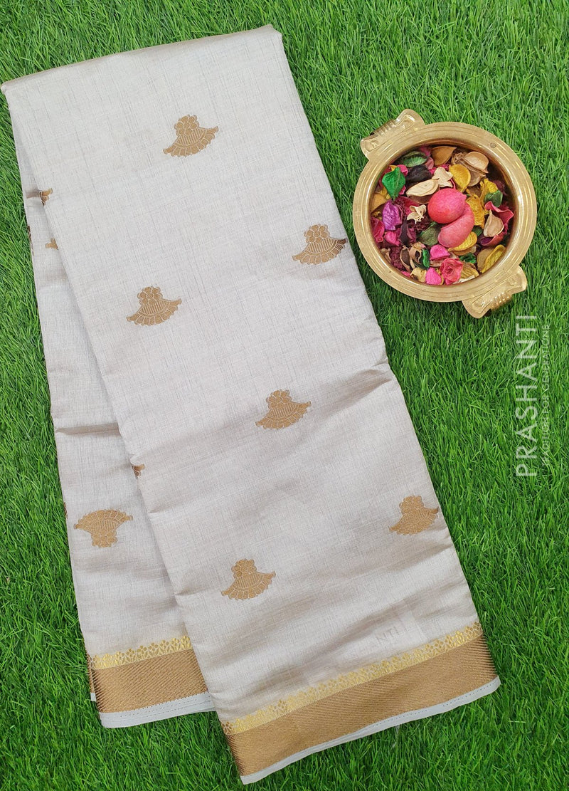 Semi Raw silk saree grey with thread woven border and thread buttas