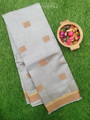 Semi Raw silk saree grey with thread buttas and border