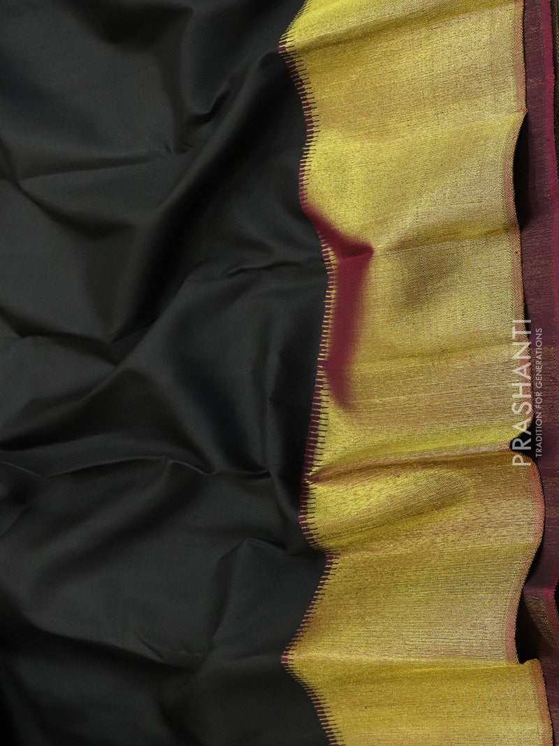 Pure Kanjivaram Silk Saree black and wine with plain body and rich golden zari border