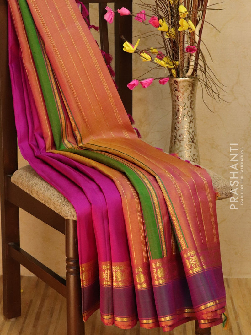 Pure Kanjivaram Silk Saree purple and dual shade of green with plain body and golden zari rettapet border
