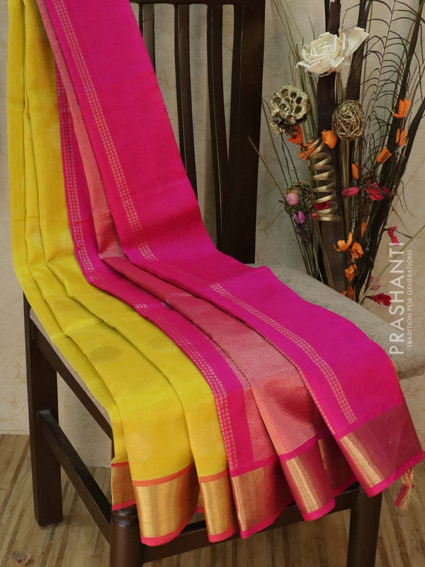 Silk cotton saree yellow and pink with golden zari coin buttas and zari border