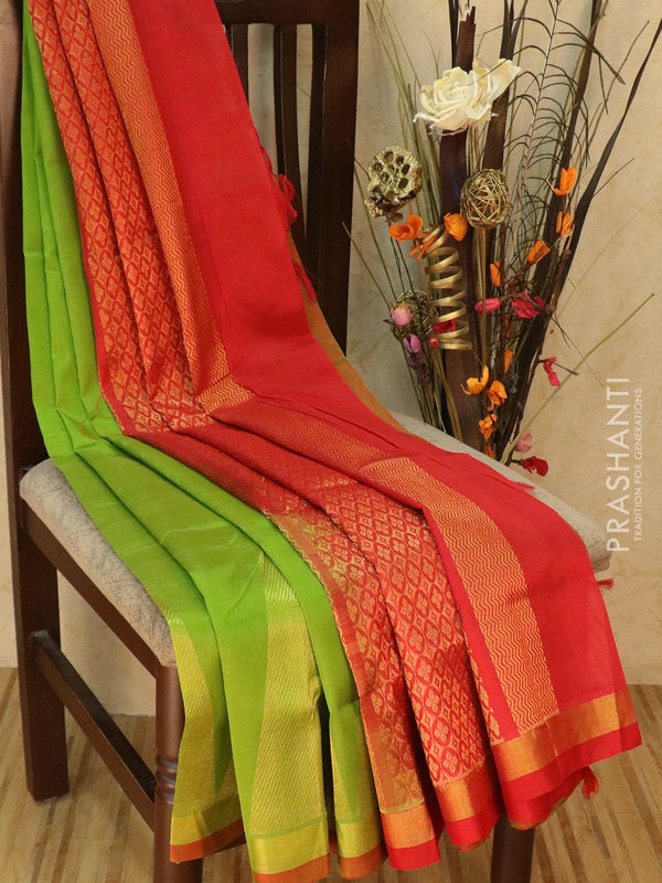 Silk cotton saree green and red with golden zari temple border