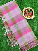Coimbatore cotton saree multi colour checks with thread emboss pattern