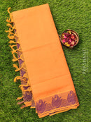 Coimbatore cotton saree orange and violet with thread emboss contrast pallu and blouse