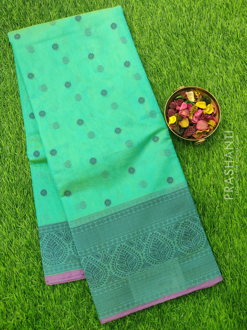 South Kota Saree dual shade of teal and purple with thread woven buttas and woven border
