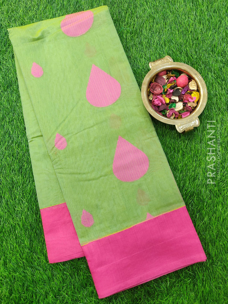 South Kota Saree pastal green and pink with thread woven buttas and border