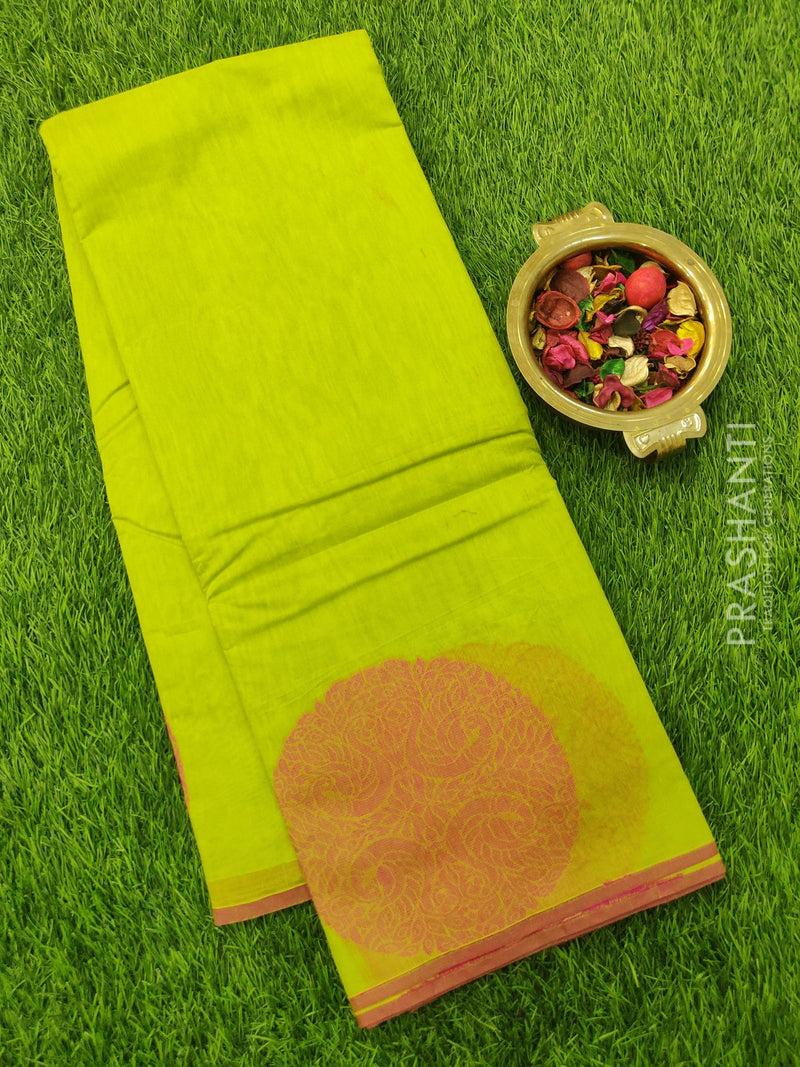 South Kota Saree lime green and pink with thread woven pattern in zariless style