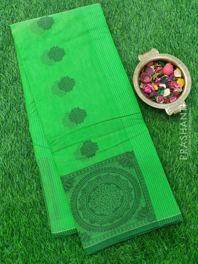 South Kota Saree green with thread woven buttas in borderless style