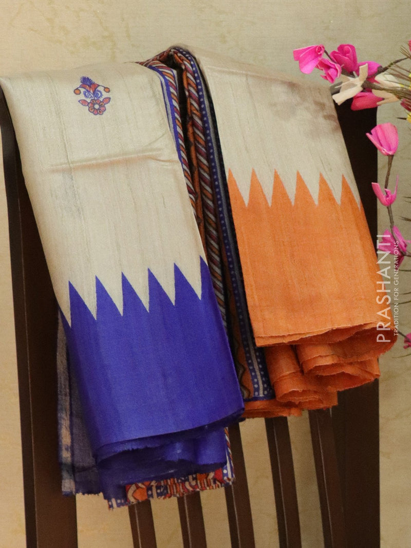Pure tusssar silk saree beige and blue with floral prints