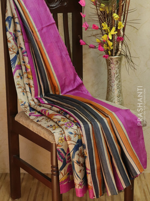 Pure tusssar silk saree beige and magenta with floral prints