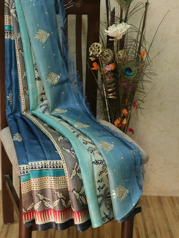 Pure tusssar silk saree mild blue and grey with warli prints and mirror embroidery for Rs.Rs. 9850.00 | Silk Sarees by Prashanti Sarees