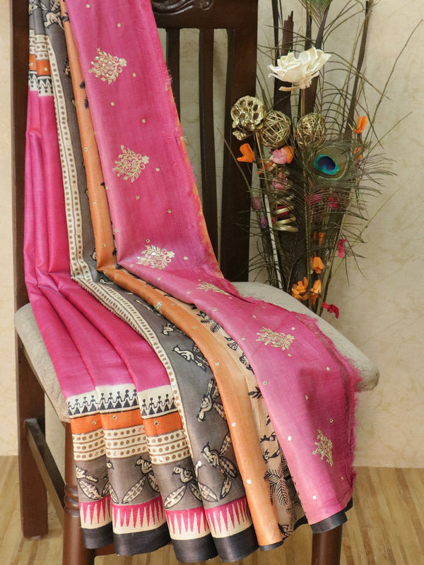 Pure tusssar silk saree pink and elephant grey with warli prints and mirror embroidery